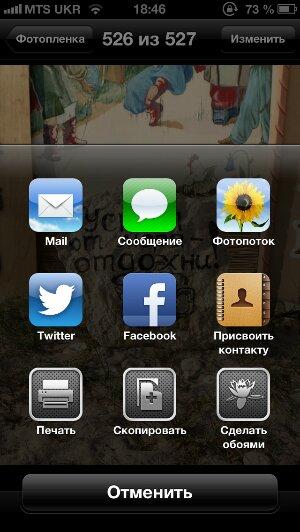 """Экран """"Поделиться"""" на устройстве Apple"""