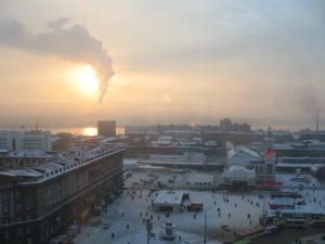 Вид из окна гостиницы в Новосибирске