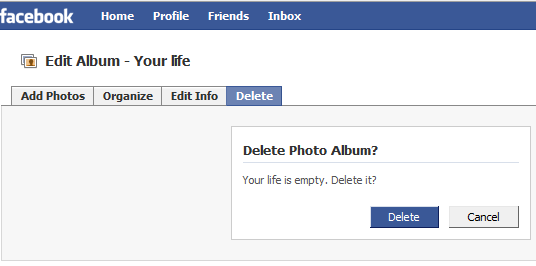 Facebook: Your life is empty