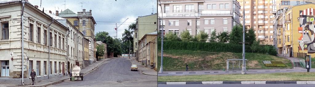 Вид на Троицкую улицу в 1974 и в 2014